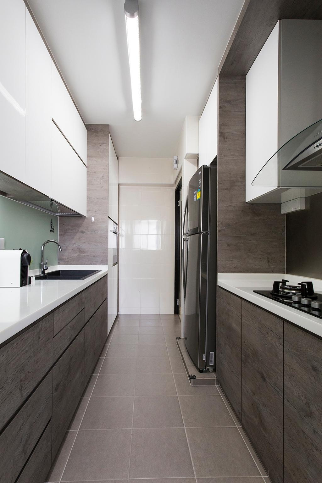 Scandinavian, HDB, Kitchen, Punggol Ripples (Block 211A), Interior Designer, Icon Interior Design, Parallel, Gallery Kitchen, Monochrome, Tiles, Gray, Grey, White Light, Workspace, Kitchen Counter, Countertop, Solid Counterop