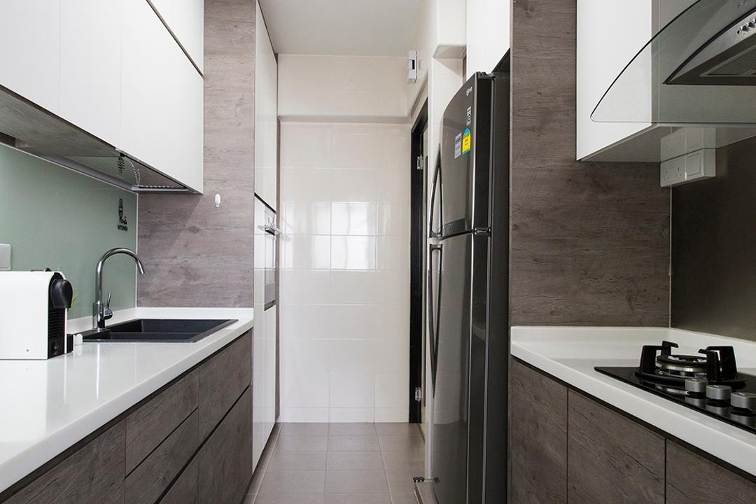 Punggol Ripples (Block 211A), Icon Interior Design, Scandinavian, Kitchen, HDB, Parallel, Gallery Kitchen, Monochrome, Tiles, Gray, Grey, White Light, Workspace, Kitchen Counter, Countertop, Solid Counterop