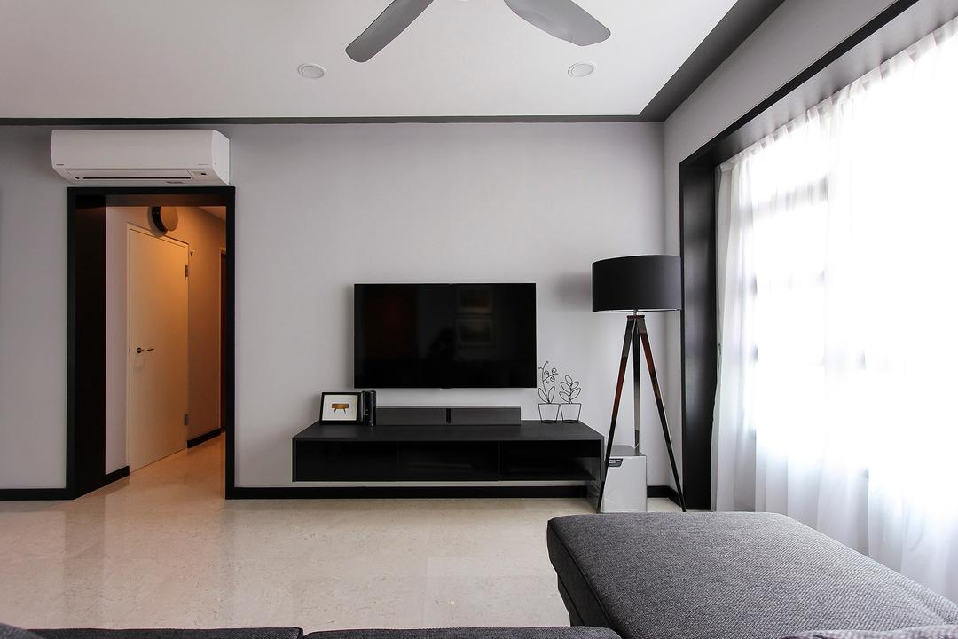Punggol Way (Block 264A), Icon Interior Design, Contemporary, Living Room, HDB, Floor Lamp, Monochrome, Grey, Gray, Cold, Household Shelter, Bomb Shelter, Chair, Furniture, Building, Housing, Indoors, Loft, Lamp, Table Lamp, Blanket, Home Decor, Bedroom, Interior Design, Room
