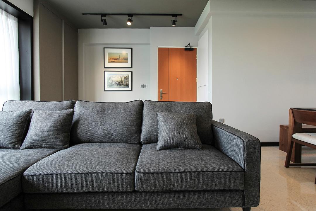 Punggol Way (Block 264A), Icon Interior Design, Contemporary, Living Room, HDB, Fabric Sofa, Grey Sofa, Dim, Dark, Gloomy, Entrance, Couch, Furniture, Art, Art Gallery