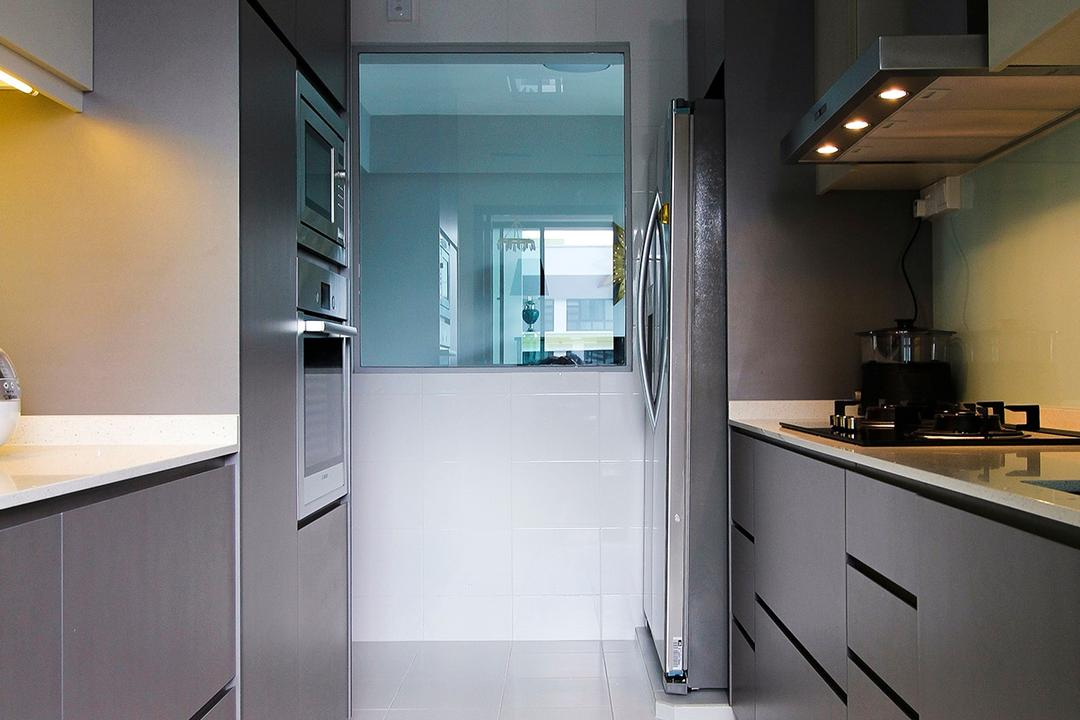 Punggol Way (Block 264A), Icon Interior Design, Contemporary, Kitchen, HDB, Parallel, Gallery Kitchen, Tiles, Half Hack, Window, Workspace, Stove, Hob, Hood, Glass Wall, Glass Window, Easy To Maintain, Easy To Clean, Indoors, Interior Design, Room