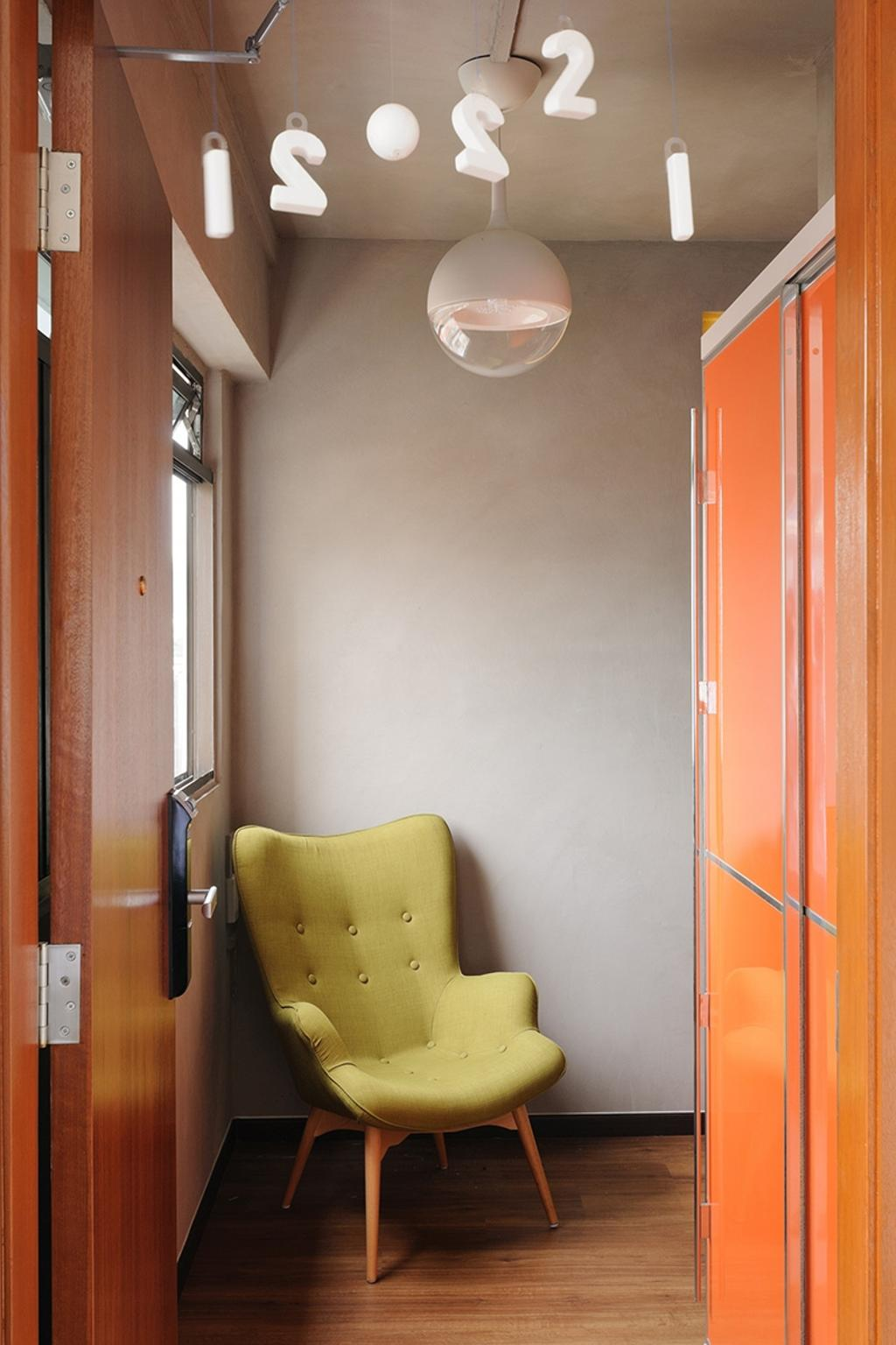 Contemporary, HDB, Living Room, Upper Cross Street (Block 532), Interior Designer, Icon Interior Design, Hanging Lights, Green Armchair, Yellow Armchair, Yellow Green, Hallway, Entrance, Chair, Furniture