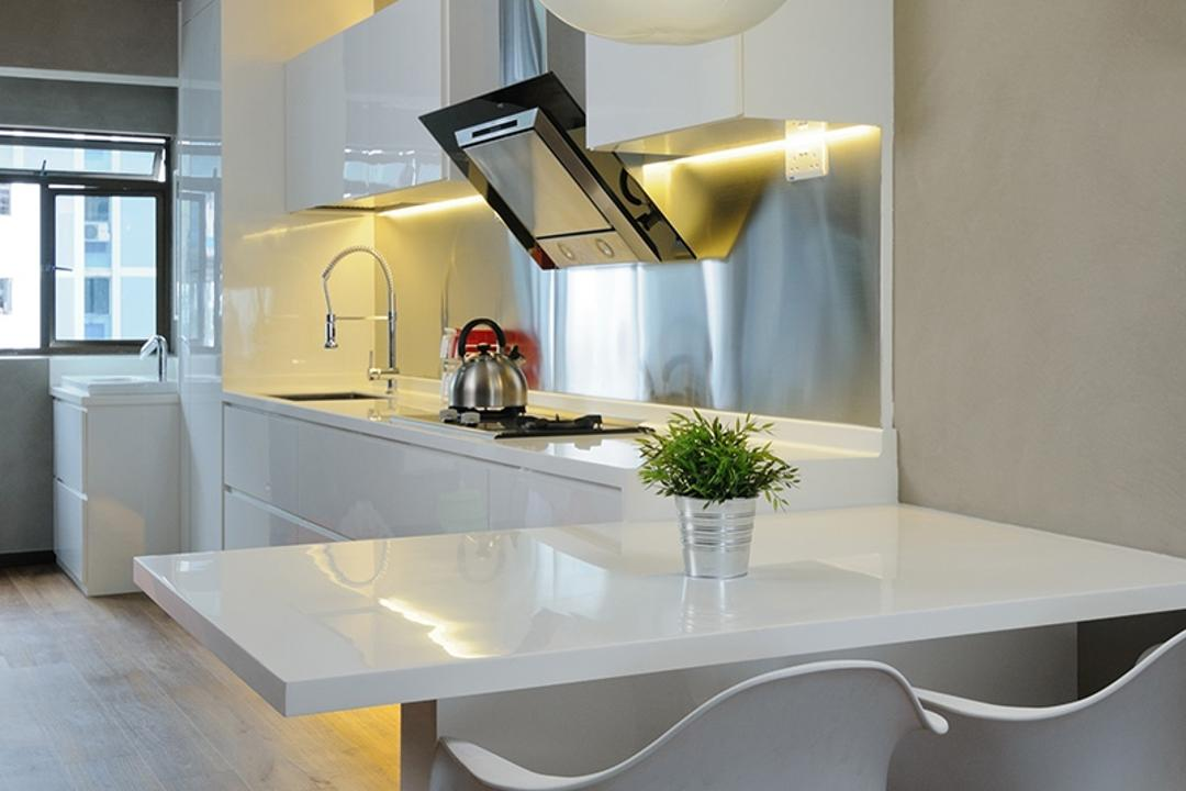 Upper Cross Street (Block 532), Icon Interior Design, Contemporary, Kitchen, HDB, Open Concept, Open Layout, White Cabinet, No Walls, Dining Table, Furniture, Table, Glasses