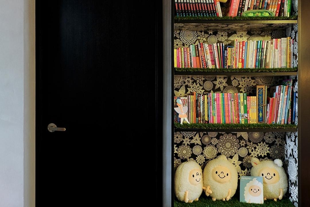 Upper Cross Street (Block 532), Icon Interior Design, Contemporary, Living Room, HDB, Bookcase, Decor Display, Black Cabinet