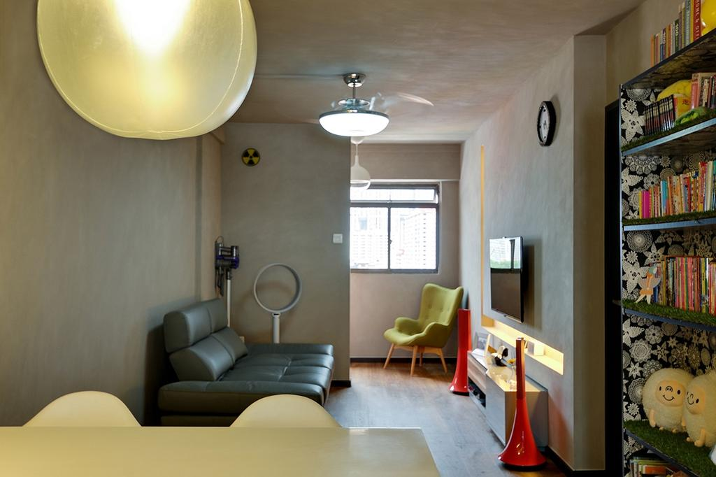 Contemporary, HDB, Living Room, Upper Cross Street (Block 532), Interior Designer, Icon Interior Design, Green Armchair, Small Space, Leather Sofa, Narrow Layout, Bookcase, Furniture, Building, Housing, Indoors