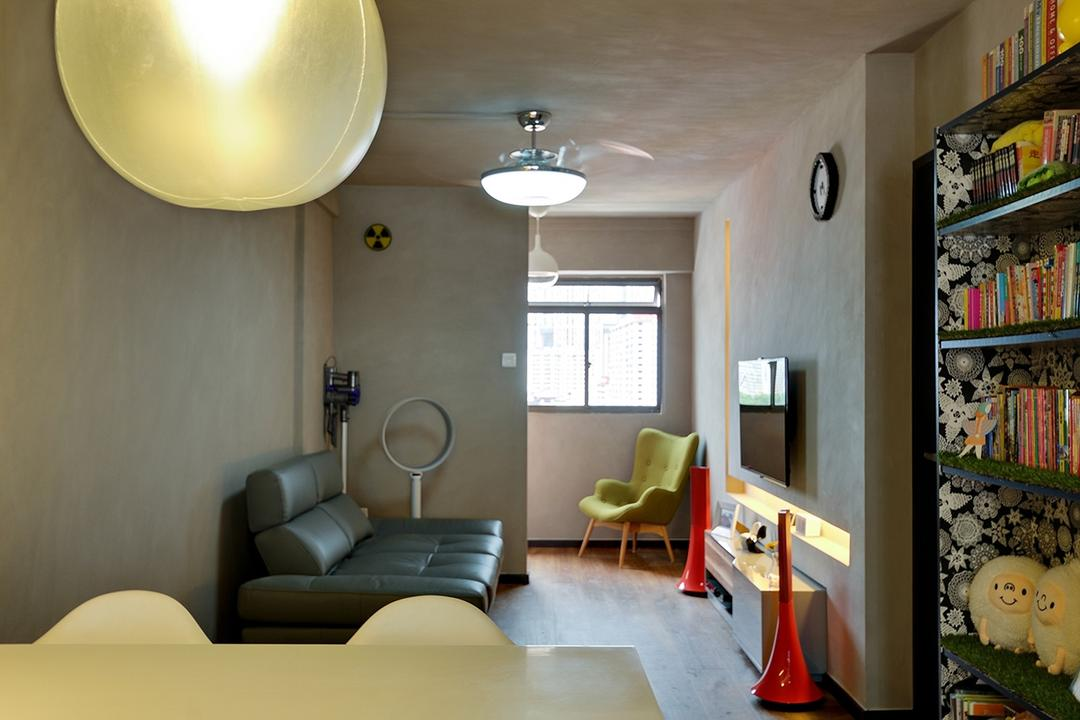 Upper Cross Street (Block 532), Icon Interior Design, Contemporary, Living Room, HDB, Green Armchair, Small Space, Leather Sofa, Narrow Layout, Bookcase, Furniture, Building, Housing, Indoors