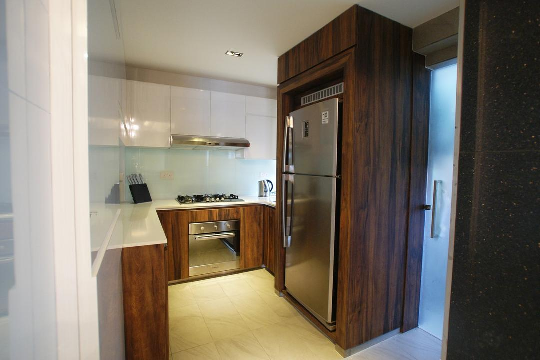 Kim Tian, Metamorph Design, Transitional, Kitchen, HDB, Compact, Frosted Doors, Wood Laminate, Wood, Laminate, Cabinet, Kitchen Counter, Marble Flooring, Corridor, Appliance, Electrical Device, Oven, Building, Housing, Indoors
