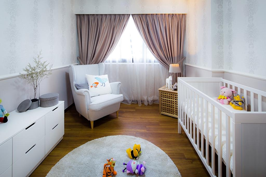 Modern, HDB, Bedroom, Punggol Topaz, Interior Designer, Icon Interior Design, Nursery, Infants Room, Babys Room, Baby Cot, Cot, Pink Curtains, Wallpaper, White, Airy, Simple, Classic, Armchair, White Arm Chair, Kids Room, Round Rug, Playmat, Indoors, Room, Crib, Furniture, Chair