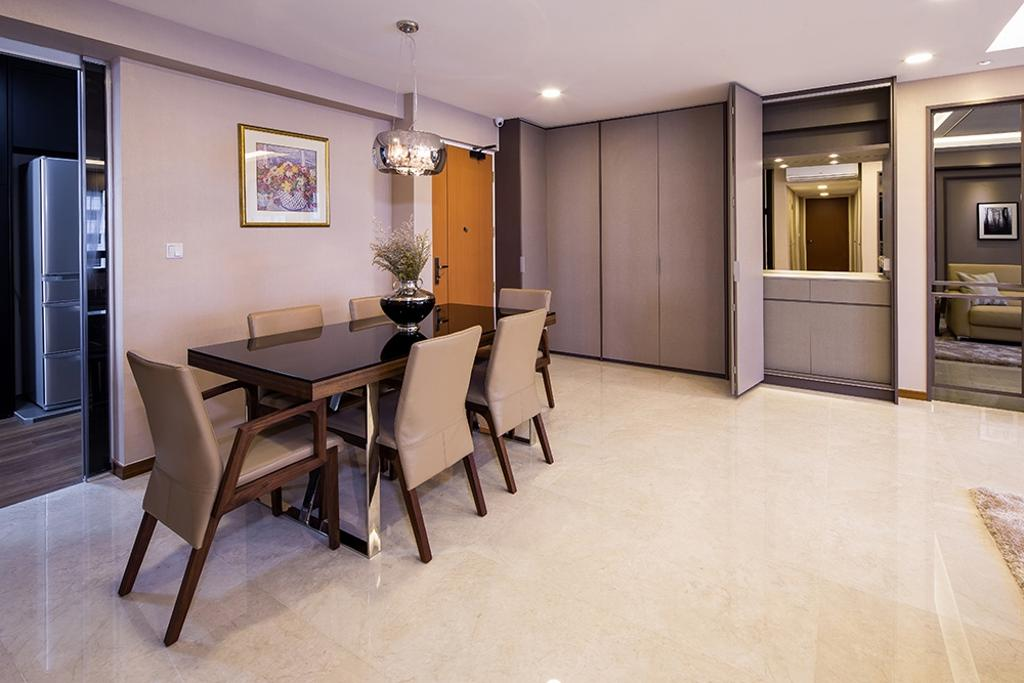Modern, HDB, Dining Room, Punggol Topaz, Interior Designer, Icon Interior Design, Wooden Dining Table, Hanging Lights, Spacious, Hallway, Entrance, Dining Area, Dining Table, Warm Tones, Neutral Colours, Beige, Greige, Tiles, Walkway, Couch, Furniture, Table, Chair