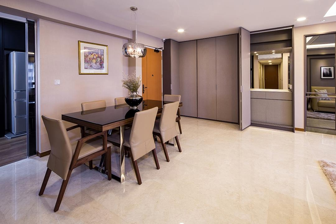 Punggol Topaz, Icon Interior Design, Modern, Dining Room, HDB, Wooden Dining Table, Hanging Lights, Spacious, Hallway, Entrance, Dining Area, Dining Table, Warm Tones, Neutral Colours, Beige, Greige, Tiles, Walkway, Couch, Furniture, Table, Chair