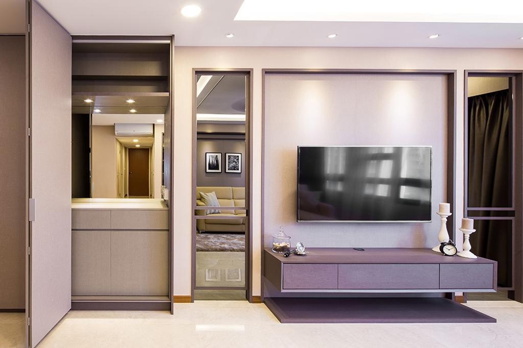 Modern, HDB, Living Room, Punggol Topaz, Interior Designer, Icon Interior Design, Full Height Mirror, Tv Console, Recessed Panel, Tv Panel, Indoors, Interior Design, Electronics, Entertainment Center