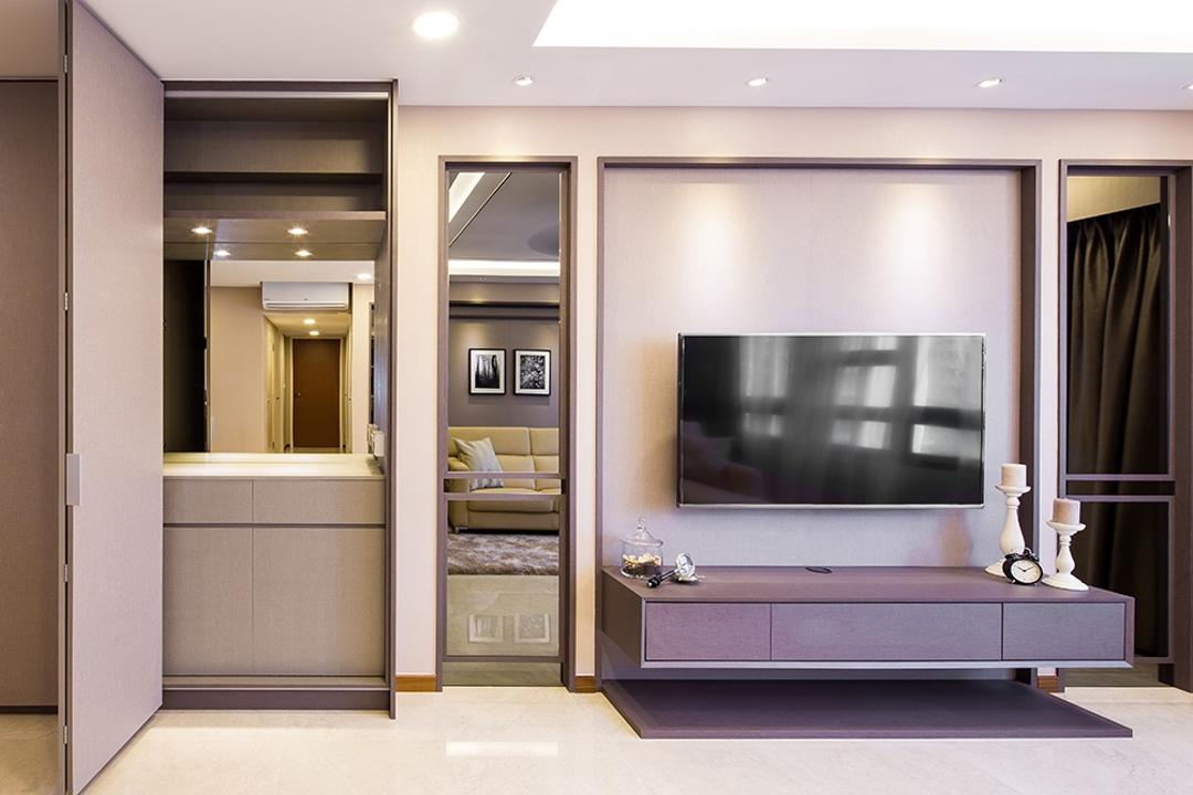 Punggol Topaz, Icon Interior Design, Modern, Living Room, HDB, Full Height Mirror, Tv Console, Recessed Panel, Tv Panel, Indoors, Interior Design, Electronics, Entertainment Center