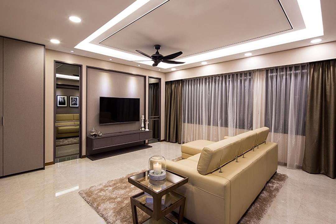 Punggol Topaz, Icon Interior Design, Modern, Living Room, HDB, White Light, Reflective Flooring, Reflective Surface, Tiles, Area Rug, False Ceiling, Cove Lighting, Spacious, Couch, Furniture, Indoors, Interior Design, Room, Coffee Table, Table, Dining Table