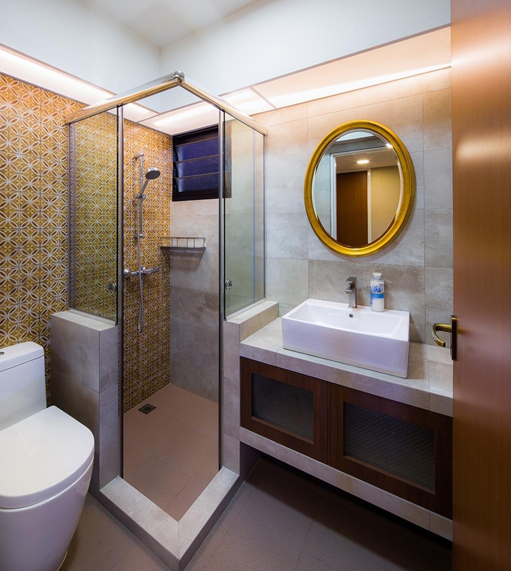 Modern, HDB, Bathroom, Punggol Topaz, Interior Designer, Icon Interior Design, Round Mirror, Shower Screen, Patterened Tiles, Yellow Tiles, Vanity Sink, Vanity Counter, Concealed Lighting, Indoors, Interior Design, Room, Toilet, Sink