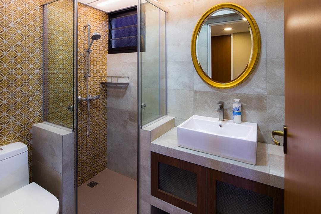Punggol Topaz, Icon Interior Design, Modern, Bathroom, HDB, Round Mirror, Shower Screen, Patterened Tiles, Yellow Tiles, Vanity Sink, Vanity Counter, Concealed Lighting, Indoors, Interior Design, Room, Toilet, Sink