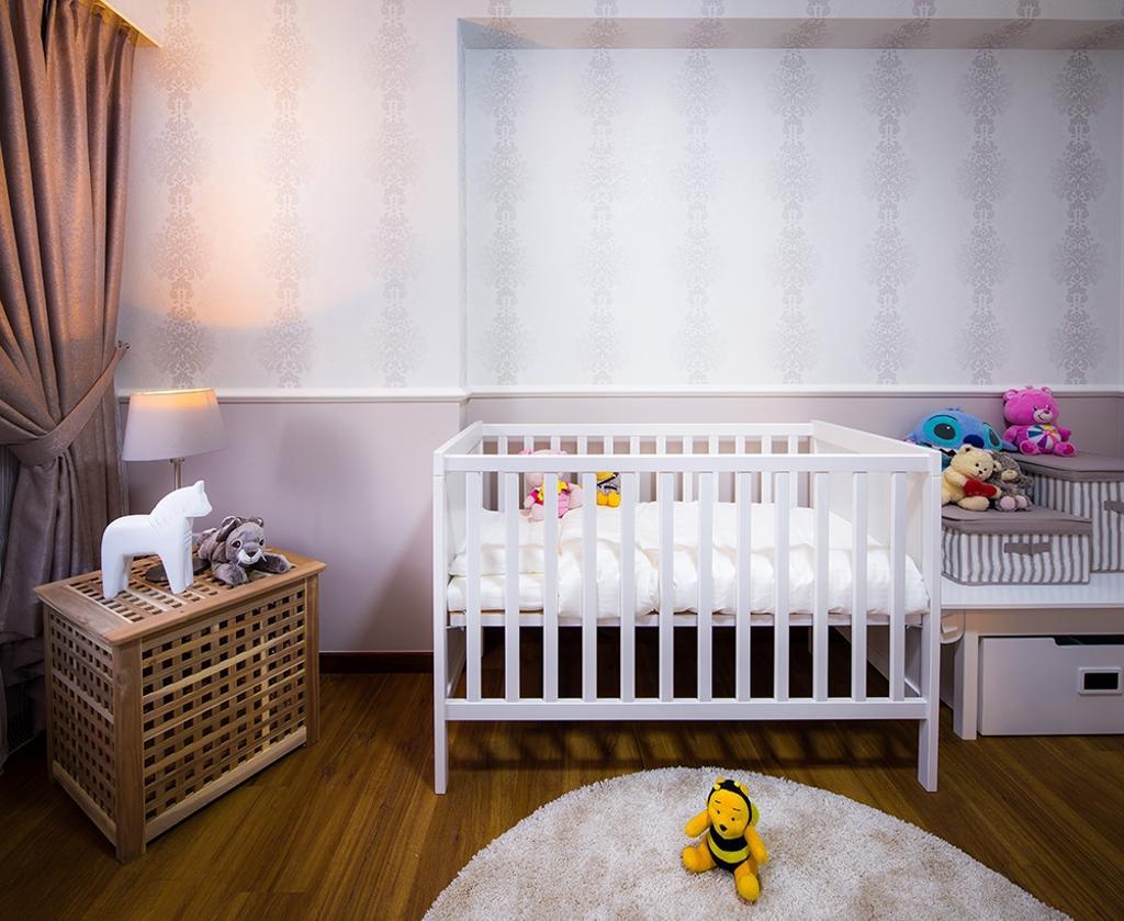 Modern, HDB, Bedroom, Punggol Topaz, Interior Designer, Icon Interior Design, Wallpaper, Lamp, Curtains, Cot, Babys Cot, Playmat, Rug, Round Rug, White, Cream, Indoors, Nursery, Room, Crib, Furniture