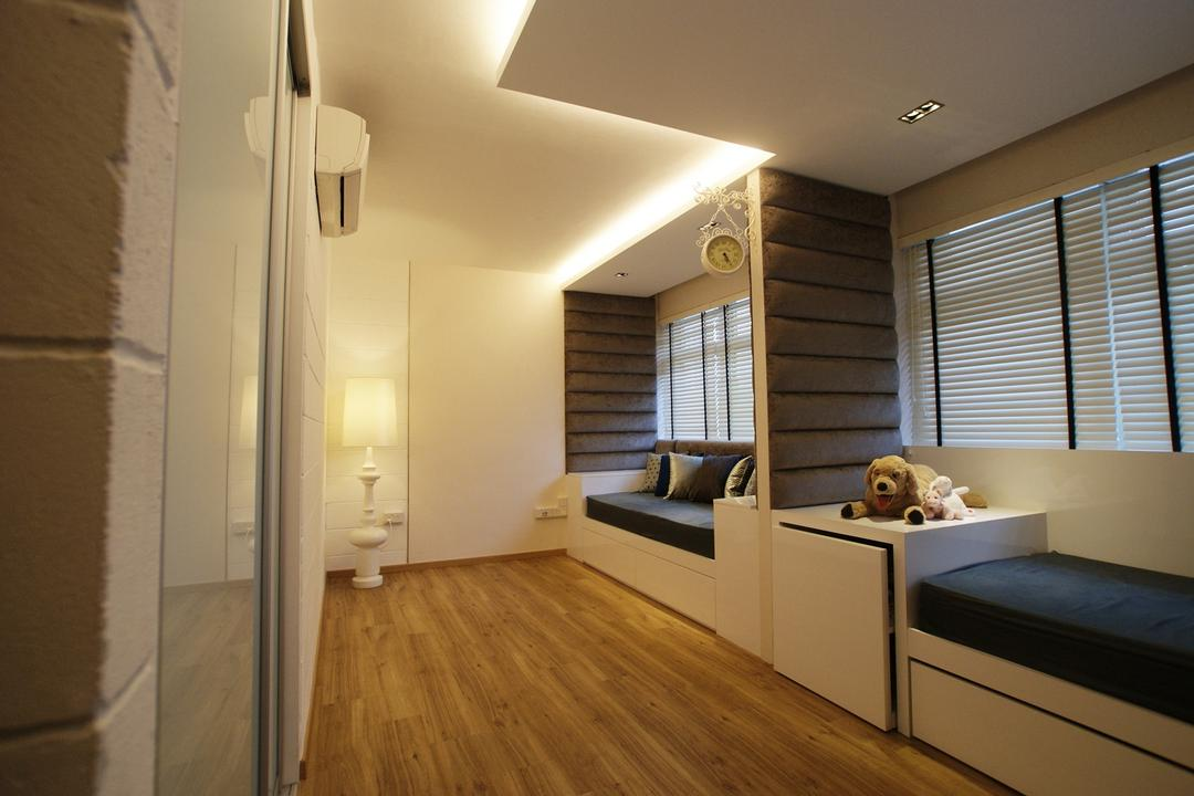 Kim Tian, Metamorph Design, Transitional, HDB, Parquet, Venetian Blinds, Bench, Chair, Cushions, Box Cushions, Storage, Drawers, Concealed Lighting, False Ceiling, Standing Lamp, Padded, Padded Wall, Flooring, Indoors, Interior Design