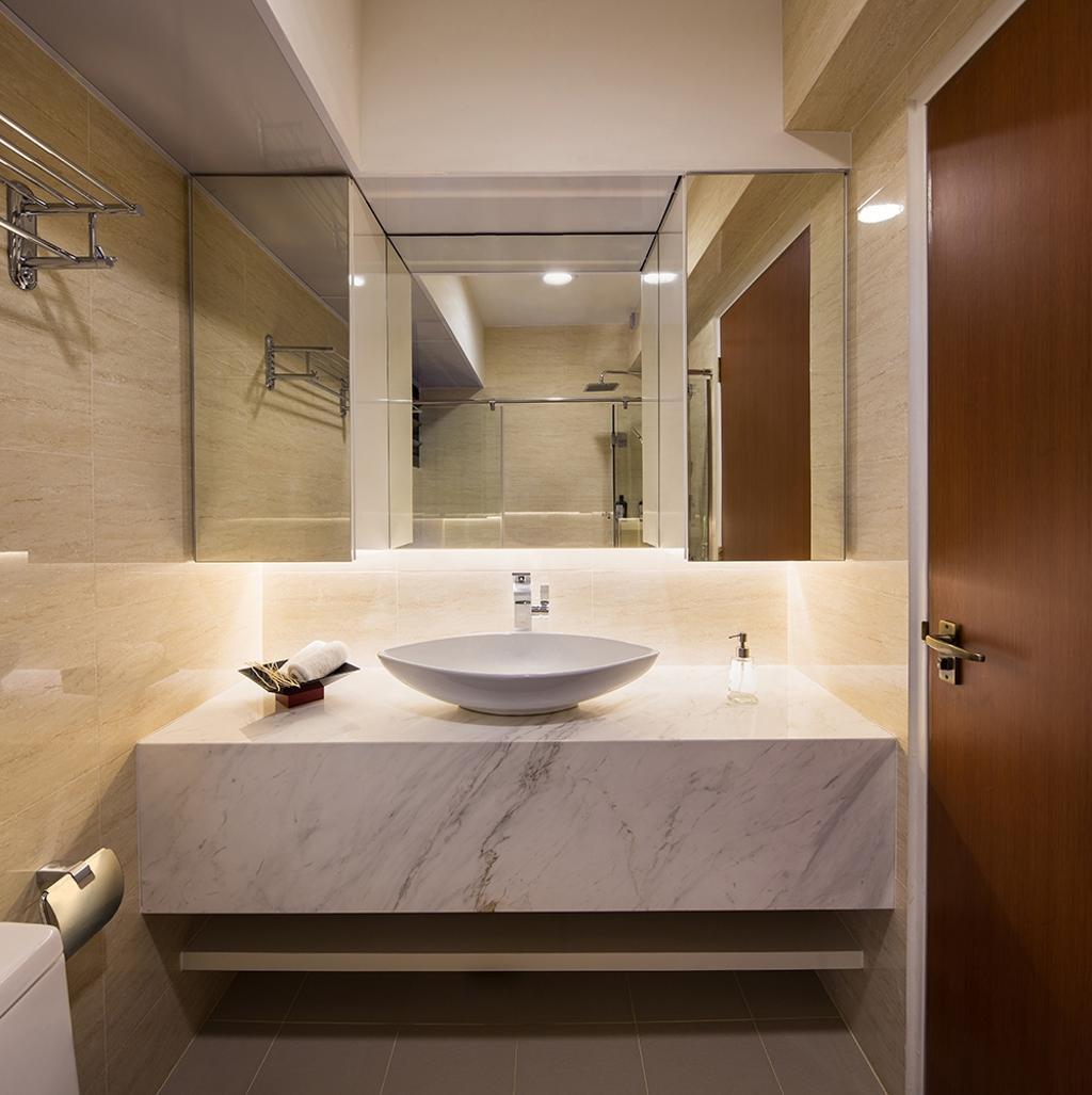 Modern, HDB, Bathroom, Punggol Topaz, Interior Designer, Icon Interior Design, Marble Counter, Vanity Counter, Vanity Sink, Tiles, Concealed Lighting, Underlight, Indoors, Interior Design, Room