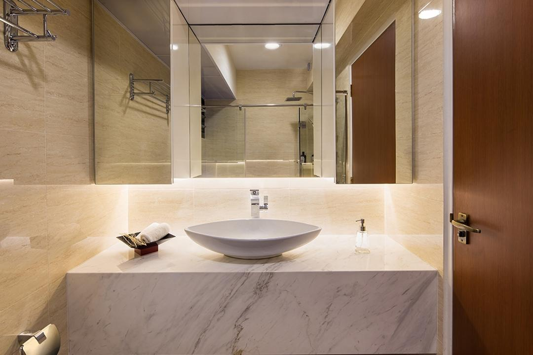 Punggol Topaz, Icon Interior Design, Modern, Bathroom, HDB, Marble Counter, Vanity Counter, Vanity Sink, Tiles, Concealed Lighting, Underlight, Indoors, Interior Design, Room