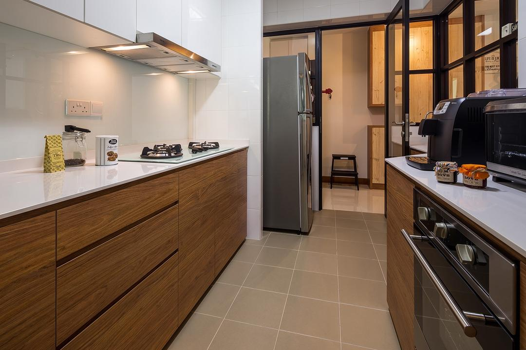 Sengkang East, Icon Interior Design, Scandinavian, Kitchen, HDB, Wood Cabinet, White And Brown, Parallel Layout, Gallery Kitchen, Half Hack, Black Framed Partitions, Countertop, Knobless, White Light, White Cabinet, Oven, Indoors, Interior Design, Room, Appliance, Electrical Device