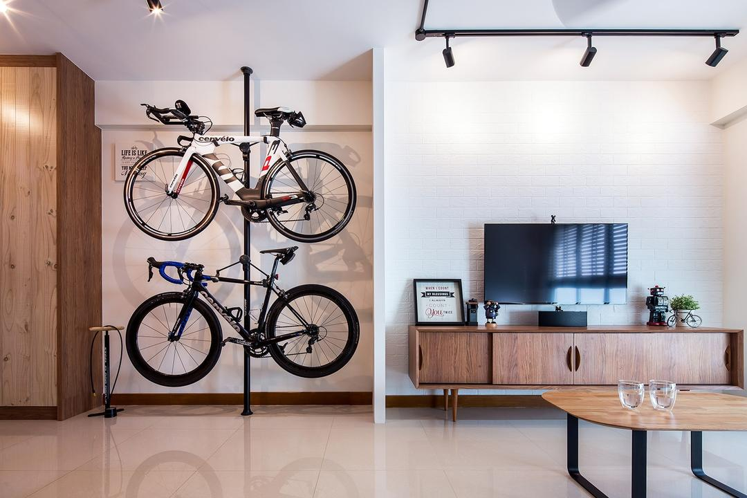 Sengkang East, Icon Interior Design, Scandinavian, Living Room, HDB, Bicycle Rack, Bicycle Wall Mount, Vertical Wall Storage, Bicycle On Wall, Bicycle Storage, Bike Storage, Bike, Track Lights, Vertical Storage, Bicycle, Transportation, Vehicle, Indoors, Interior Design, Dining Table, Furniture, Table, Mountain Bike