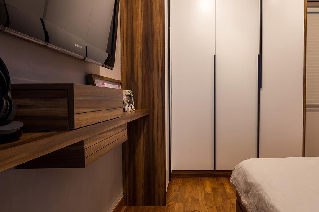 Sengkang East, Icon Interior Design, Scandinavian, Bedroom, HDB, Tv On Wall, Tv In Bedroom, Wall Mount, Wall Shelf, Ledge, Hardwood, Stained Wood, Wood