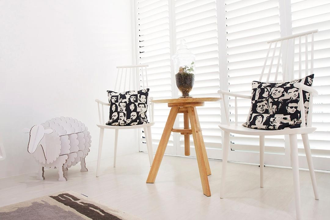 Clover Way, Icon Interior Design, Minimalistic, Living Room, Landed, Tiles, Blinds, Cane Chair, White Chairs, White, Airy, Bright, Bag, Tote Bag, Curtain, Home Decor, Shower Curtain, Chair, Furniture, Dining Table, Table, Lamp, Lampshade