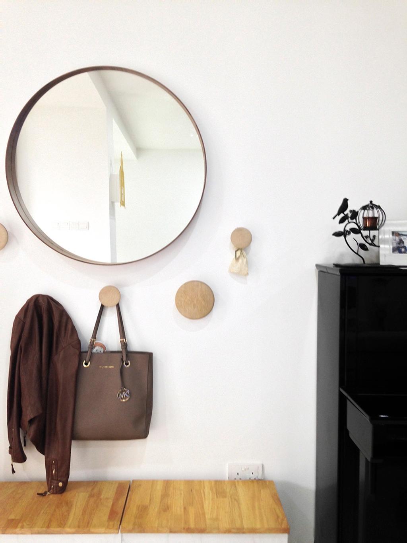 Minimalist, Landed, Clover Way, Interior Designer, Icon Interior Design, Round Mirror, Wall Hooks, Wall Storage, Wall Display, Clothes Display, Cloak, Clothing