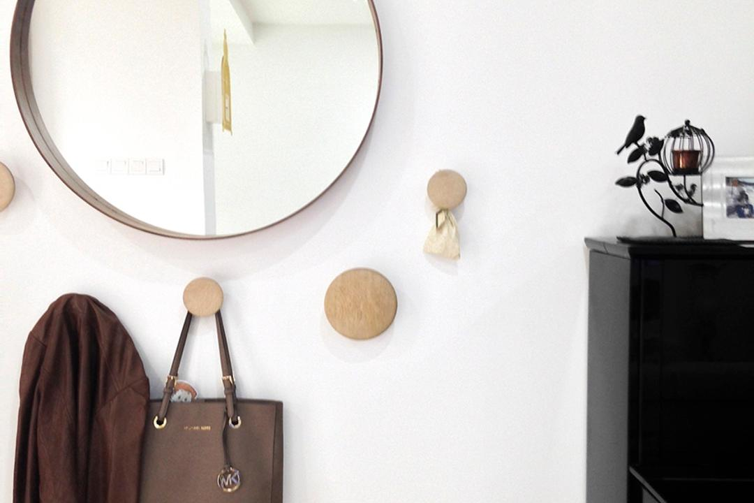 Clover Way, Icon Interior Design, Minimalistic, Landed, Round Mirror, Wall Hooks, Wall Storage, Wall Display, Clothes Display, Cloak, Clothing