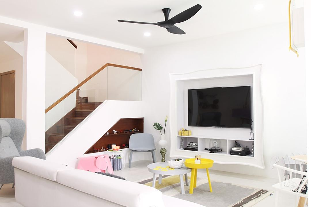 Clover Way, Icon Interior Design, Minimalist, Living Room, Landed, Stairs, Tv Flushed To Wall, Bench, White, Colours, Yellow, Ceiling Fan, Black Ceiling Fan, Haiku Fan, HDB, Attic, Building, Housing, Indoors, Loft, Dining Table, Furniture, Table, Electronics, Entertainment Center