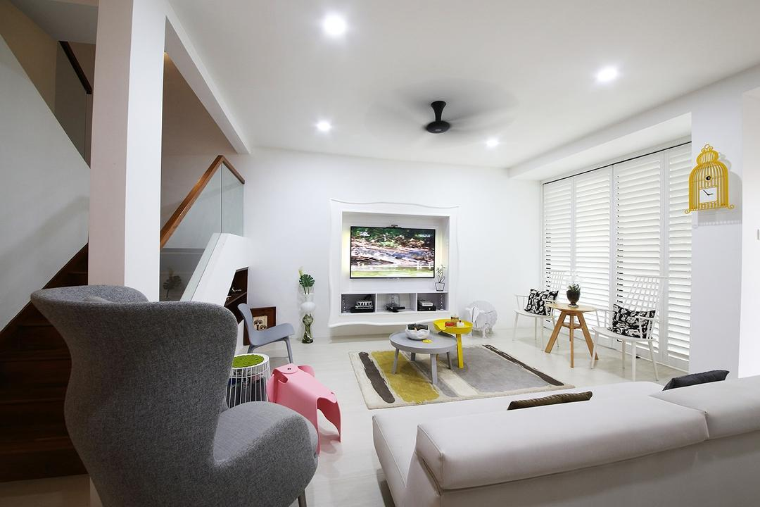Clover Way, Icon Interior Design, Minimalistic, Living Room, Landed, White Sofa, Leather Sofa, Blinds, Wall Clock, White Lights, Arm Chair, Armchair, Coffee Table, Area Rug, Chairs, Chair, Furniture