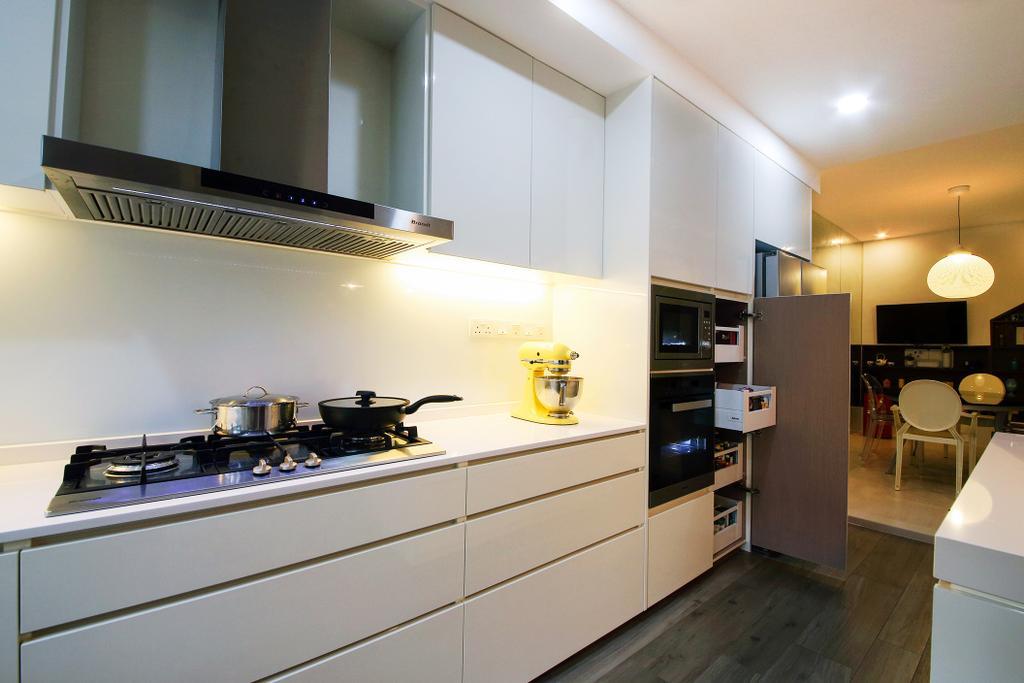 Minimalistic, Landed, Kitchen, Clover Way, Interior Designer, Icon Interior Design, Kitchen Workspace, Baking Corner, Stove, Hob, Hood, Countertop, White Countertop, Backsplash, White Backsplash, Pull Out Pantry, Oven