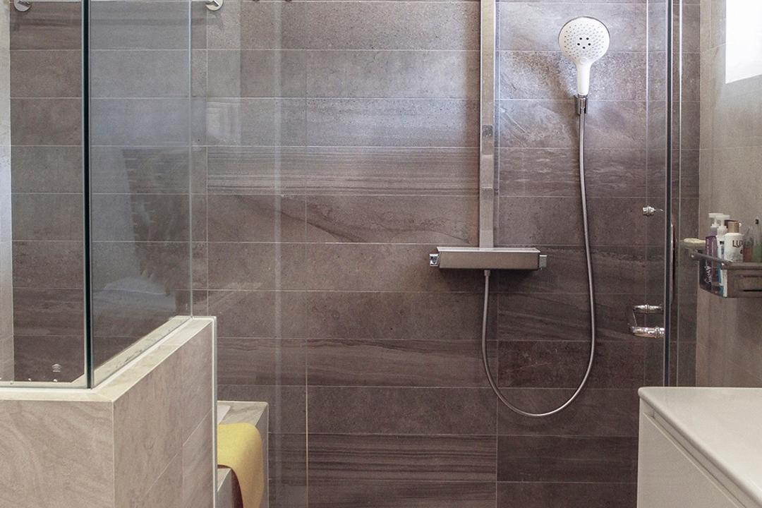 Clover Way, Icon Interior Design, Minimalistic, Bathroom, Landed, Rainshower, Tiles, Tile Grains, Hand Shower, Shower Set, Bathtub, Neutral Colours, Sink