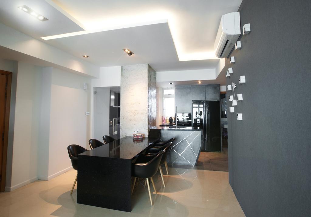 Contemporary, Condo, Costa Del Sol, Interior Designer, Metamorph Design, Concealed Lighting, False Ceiling, Columns, Dining Table, Table, Chair, Gray, White, Marble Flooring, Monochrome, Recessed Lighting, Indented Lighting, Furniture, Dining Room, Indoors, Interior Design, Room