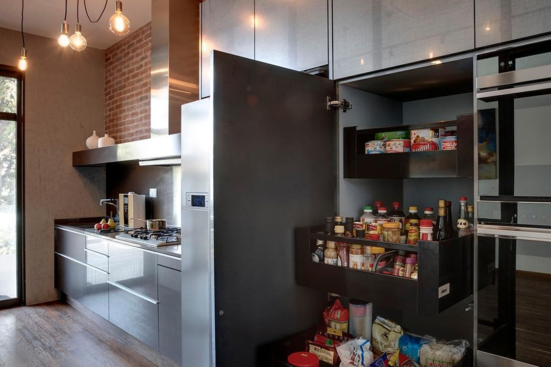 Surin Villas, Icon Interior Design, Industrial, Kitchen, Landed, Pull Out Pantry, Kitchen Organisation, Condiments Rack, Appliance, Electrical Device, Fridge, Refrigerator, Shelf, HDB, Building, Housing, Indoors, Loft