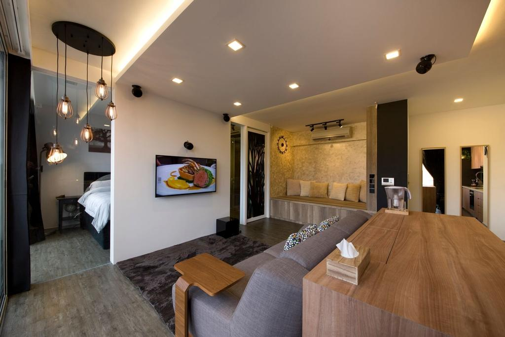 Contemporary, Condo, Living Room, Geylang Lor 30, Interior Designer, D5 Studio Image, Open Concept, Open Layout, Adjoining Room, Tv Mount, Side Table, Hanging Lights, Exposed Bulbs, Dining Room, Indoors, Interior Design, Room
