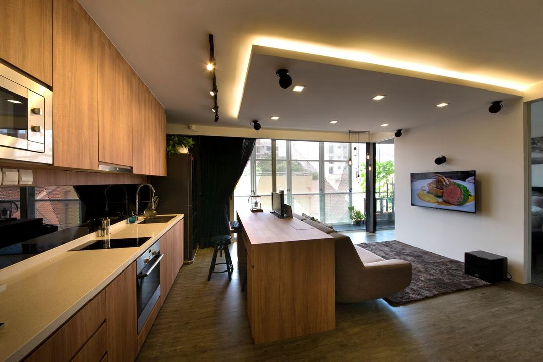 Geylang Lor 30, D5 Studio Image, Contemporary, Kitchen, Condo, Open Layout Kitchen, Open Layout, Open Concept, Oven, Countertop, White And Brown, Curtains, Laminate, Sink, Flooring, Dining Room, Indoors, Interior Design, Room, Appliance, Electrical Device