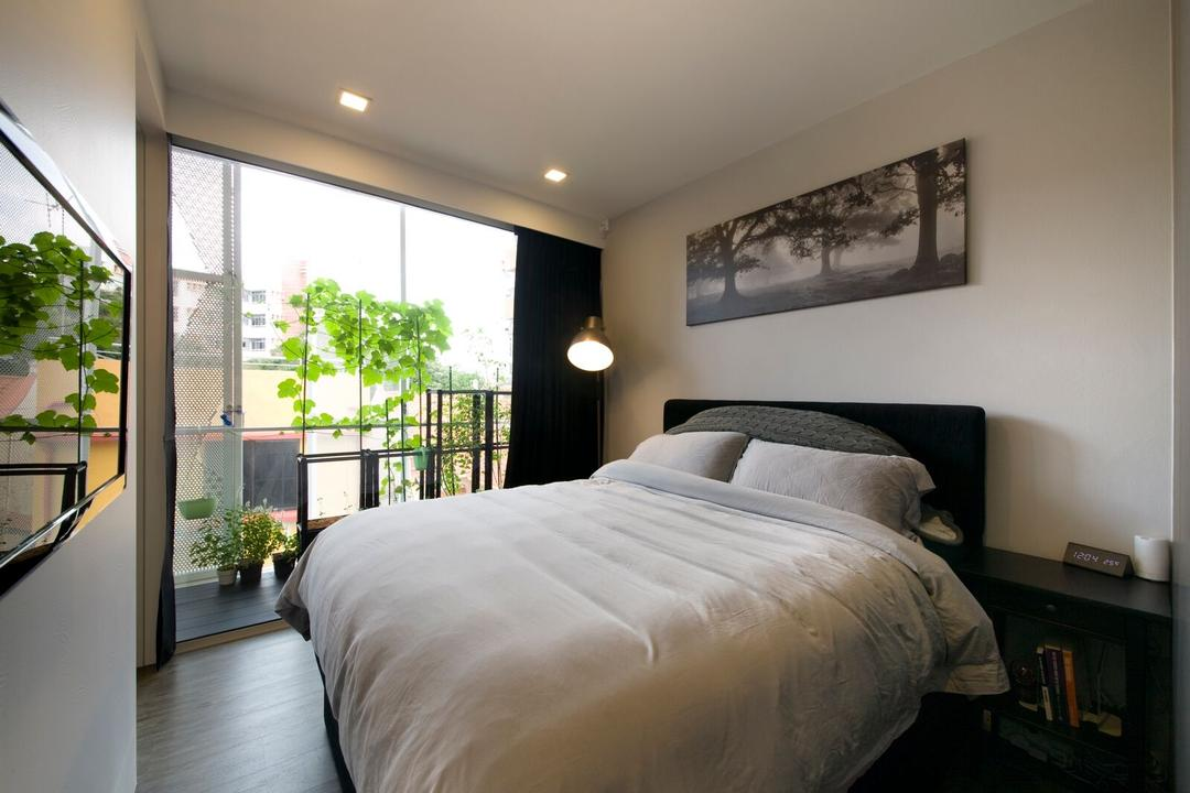 Geylang Lor 30, D5 Studio Image, Contemporary, Bedroom, Condo, Balcony, Timber Decking, Wood Decking, Floor Lamp, Curtains, Planters, Plants, Wall Portrait, Wall Frames, King Size Bed, Flora, Jar, Plant, Potted Plant, Pottery, Vase, Bed, Furniture, Indoors, Interior Design, Room