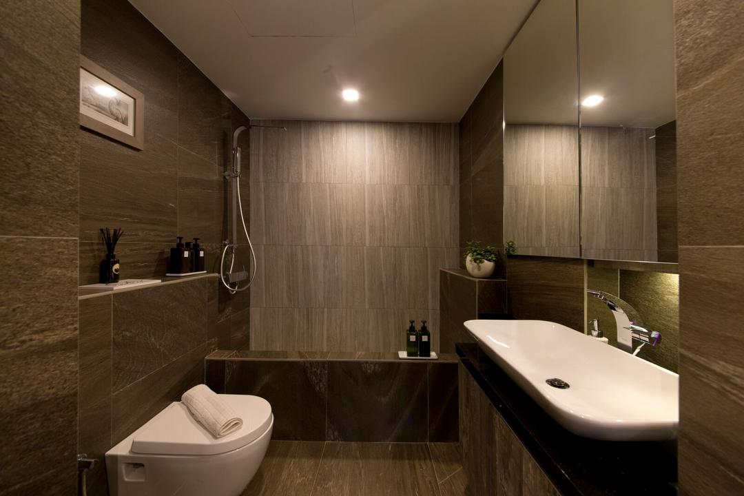 Geylang Lor 30, D5 Studio Image, Contemporary, Bathroom, Condo, Tiles, Dark Brown, Bathtub, Vanity Sink, Ledge, Water Closet, Toilet Bowl, Sink, Indoors, Interior Design, Room, Appliance, Electrical Device, Microwave, Oven