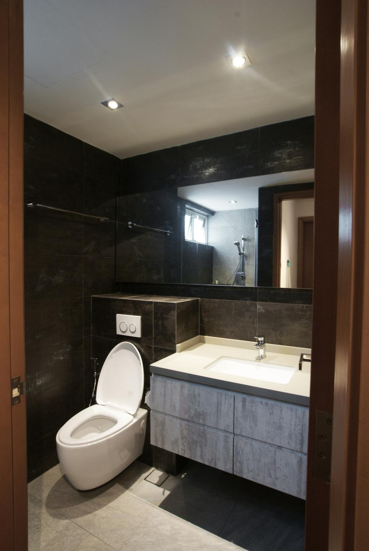 Contemporary, Condo, Bathroom, Costa Del Sol, Interior Designer, Metamorph Design, Black, White, Monochrome, Mirror, Bathroom Counter, Tile, Tiles, Marble Wall, Toilet, Indoors, Interior Design, Room