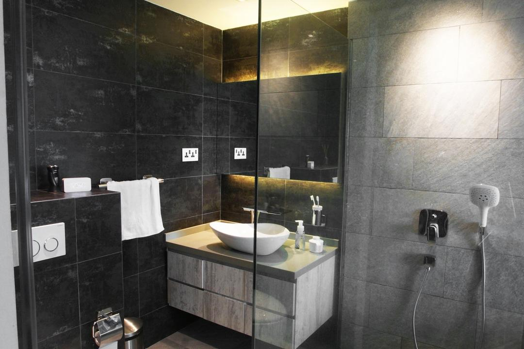 Costa Del Sol, Metamorph Design, Contemporary, Bathroom, Condo, Glass Cubicle, Rain Shower, Tile, Tiles, Black, Vessel Sink, Mirror, Bathroom Counters, Marble Wall, Concealed Lighting, Gray, Monochrome, Indoors, Interior Design, Room