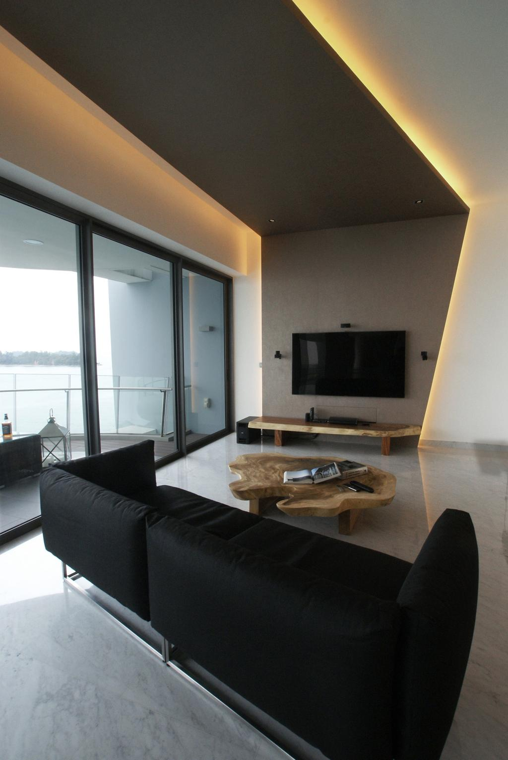 Modern, Condo, Living Room, Seascape, Interior Designer, Metamorph Design, Concealed Lighting, False Ceiling, False Wall, Full Length Windows, Balcony, Seaview, Sofa, Chair, Coffee Table, Table, Tv Console, Wood, Laminate, Wood Laminate, Woodwork, Marble Flooring, Couch, Furniture