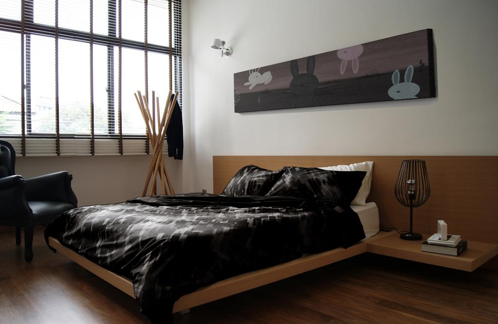 Modern, Landed, Bedroom, St Martin's Drive, Interior Designer, Metamorph Design, Mounted Table, Side Table, Night Stand, Venetian Blinds, Coat Rack, Armchair, Chair, Parquet, Painting, Lamp, Bed, Furniture