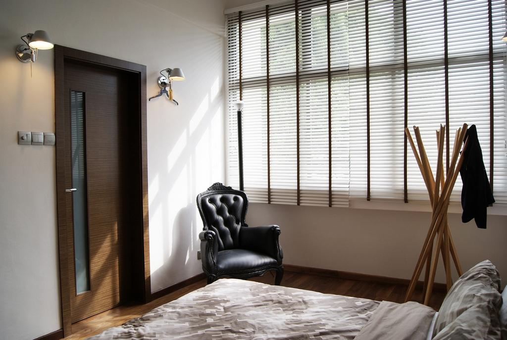 Modern, Landed, Bedroom, St Martin's Drive, Interior Designer, Metamorph Design, Coat Rack, Venetian Blinds, Armchair, Chair, Wall Lamp, Wood Laminate, Wood, Laminate, Parquet, Furniture, Bed, Indoors, Interior Design, Room