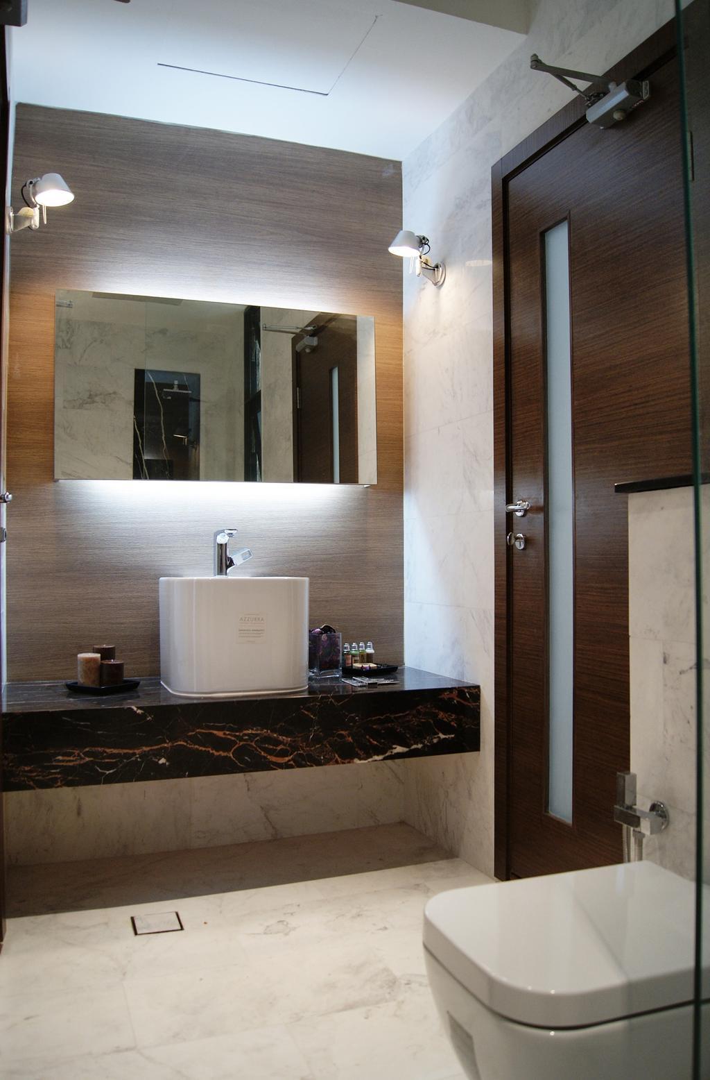 Modern, Landed, Bathroom, St Martin's Drive, Interior Designer, Metamorph Design, Mirror, Wall Lamp, Concealed Lighting, Vessel Sink, Bathroom Counter, Marble Surface, Marble Flooring, Marble Wall, Parquet Wall
