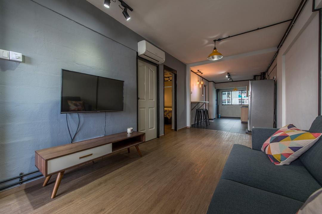 Lor Liew Lian, Ace Space Design, Industrial, Living Room, HDB, Blue Wall, Tv Console, Sofa, Pencil Legs, Wood Flooring, Simple Layout, Linear Layout, Narrow Layout, Long Layout, Retro Console, Wall Mount Tv, Couch, Furniture, Flooring