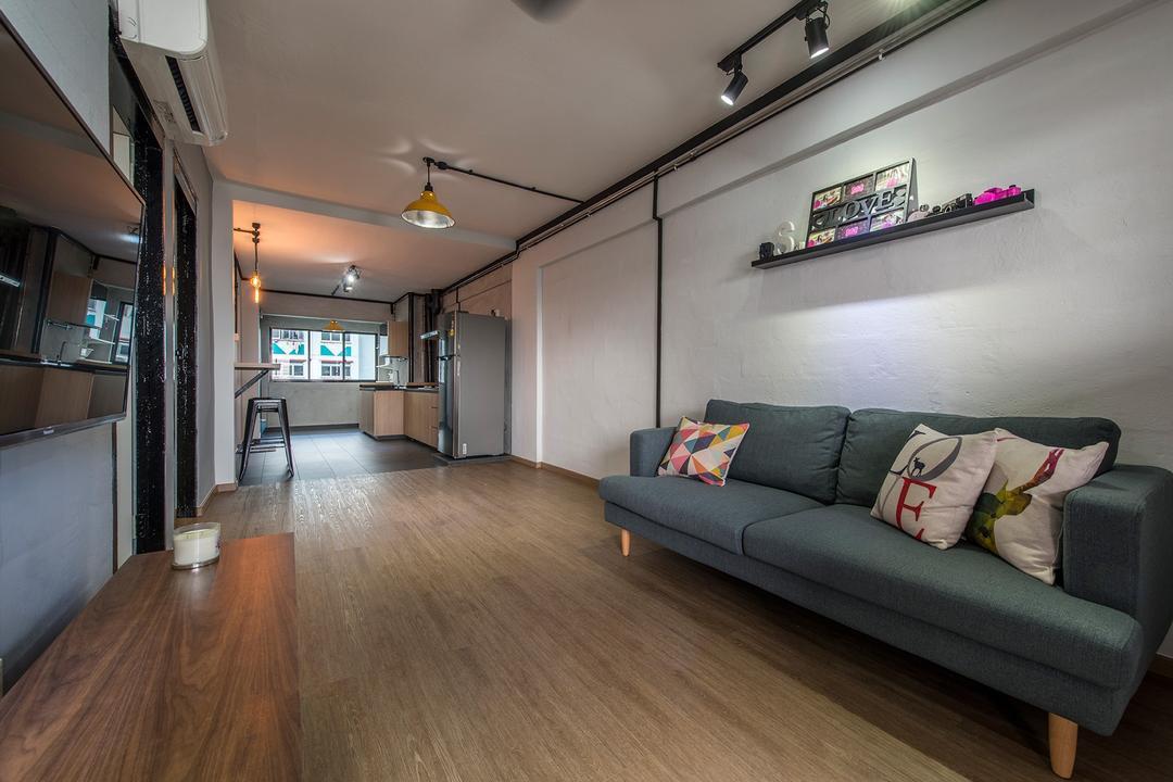 Lor Liew Lian, Ace Space Design, Industrial, Living Room, HDB, Wall Shelf, Ledge, Wood Flooring, Cushions, Blue Sofa, Fabric Sofa, Simple, Plain, Wooden Console, Couch, Furniture, Flooring, Building, Housing, Indoors, Loft, Hardwood, Wood