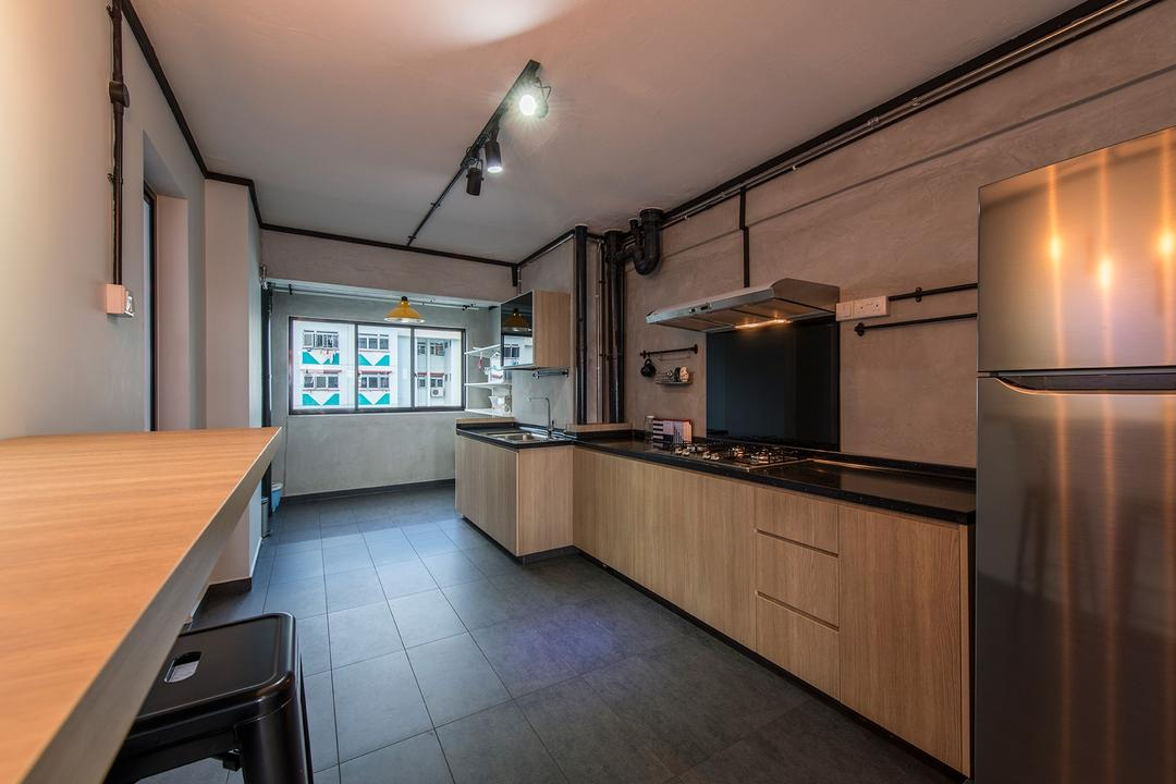 Lor Liew Lian, Ace Space Design, Industrial, Kitchen, HDB, Kitchen Countertop, Tiles, Black Tiles, Dark Tiles, Wood Laminate, Open Concept, Open Layout, Kitchen Hack, Hack Kitchen, Breakfast Counter, Bar Stools, Counter, Sink