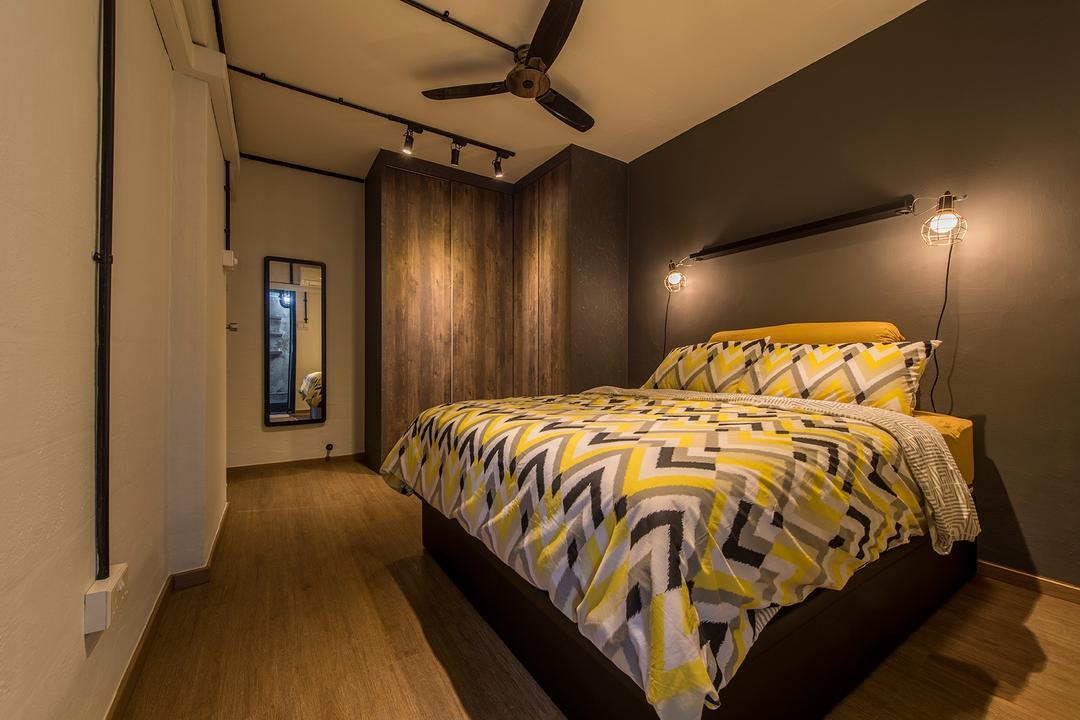 Lor Liew Lian, Ace Space Design, Industrial, Bedroom, HDB, Black Tracklights, Wood Flooring, Dark, Grey, Gray, Grey Walls, Wall Sconce, Bed, Furniture, Indoors, Room