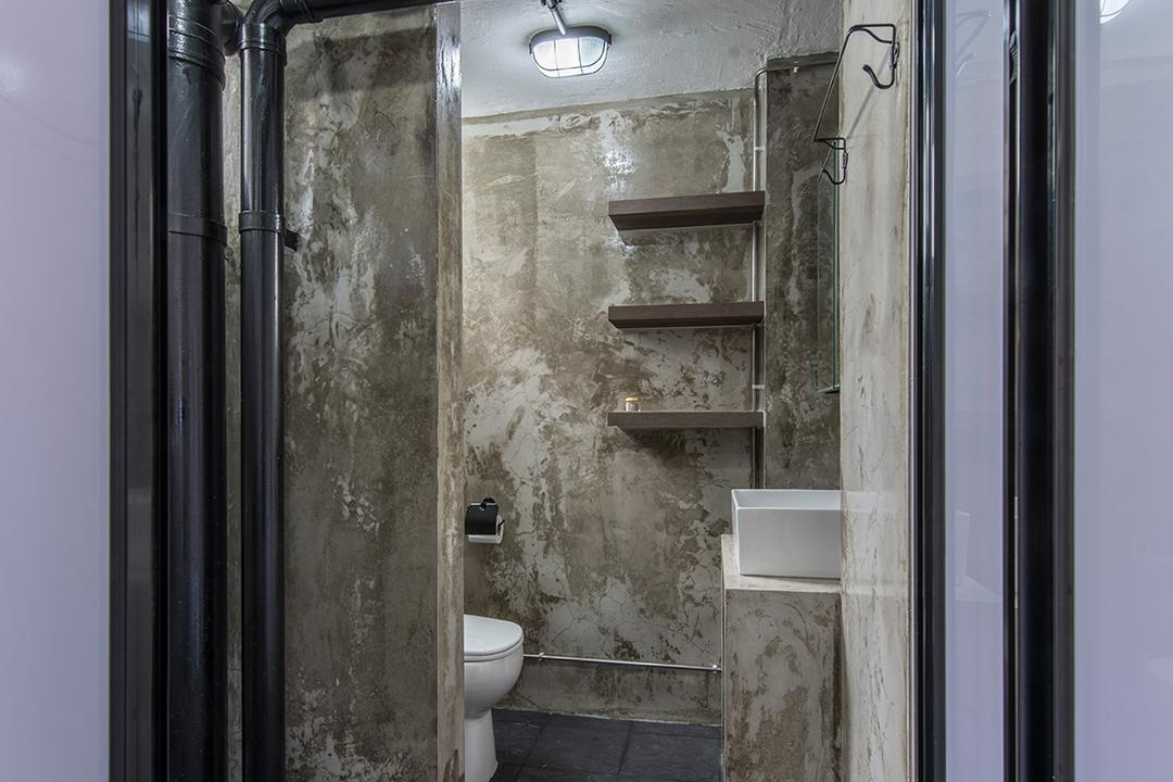 Lor Liew Lian, Ace Space Design, Industrial, Bathroom, HDB, Cement Screed, Old, Rustic, Uneven Texture, Grey, Gray, Black Pipes